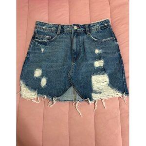 Zara Trafaluc Distressed Denim Skirt